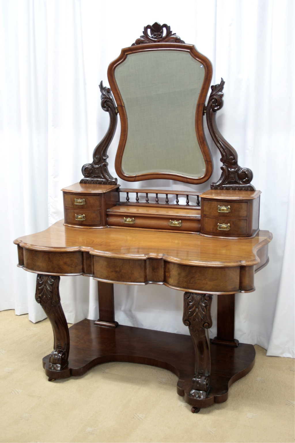 Victorian Walnut Figured Dressing Table For Sale