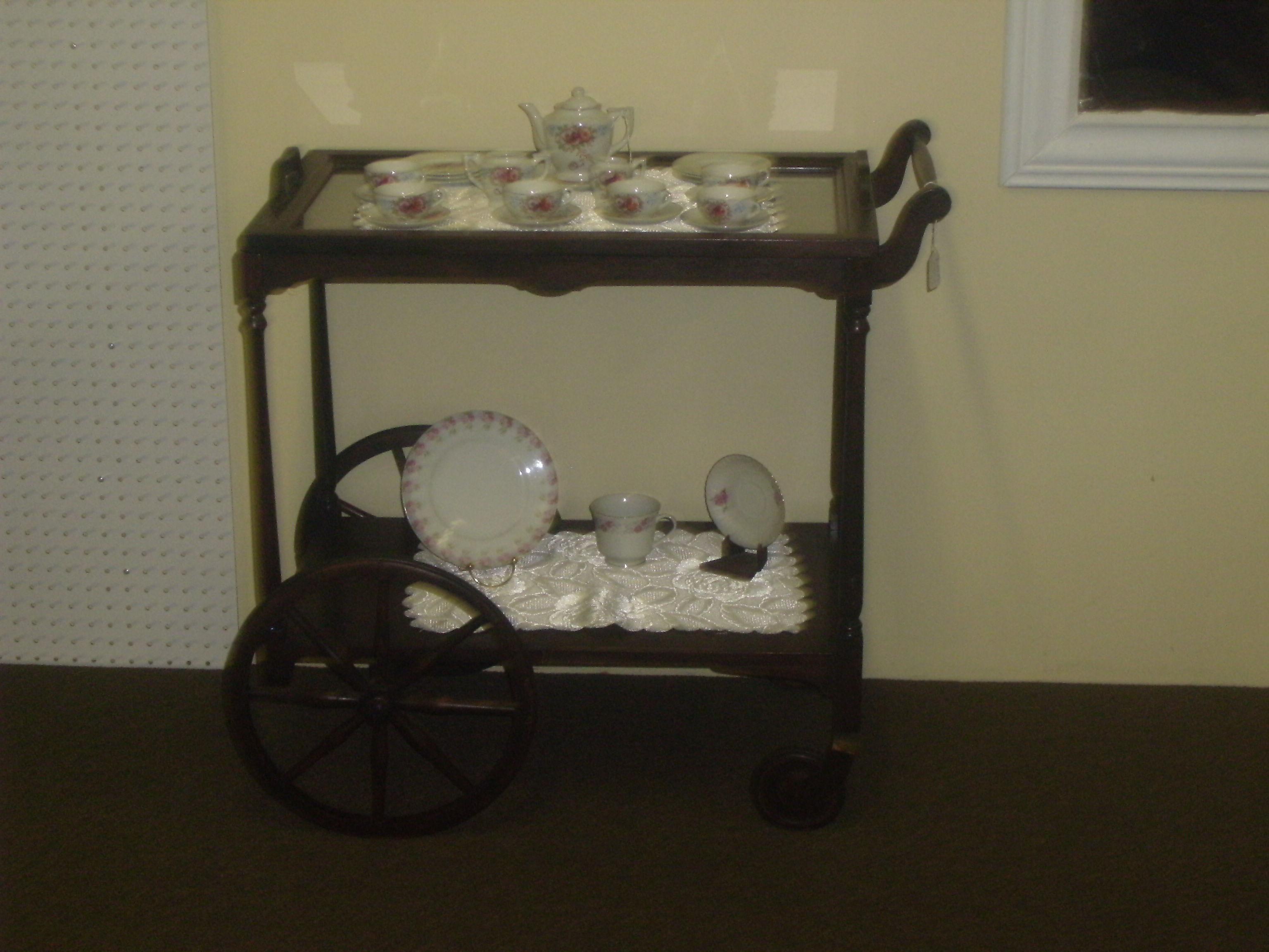 Antique Wooden Tea Cart Wheels Antiques Center
