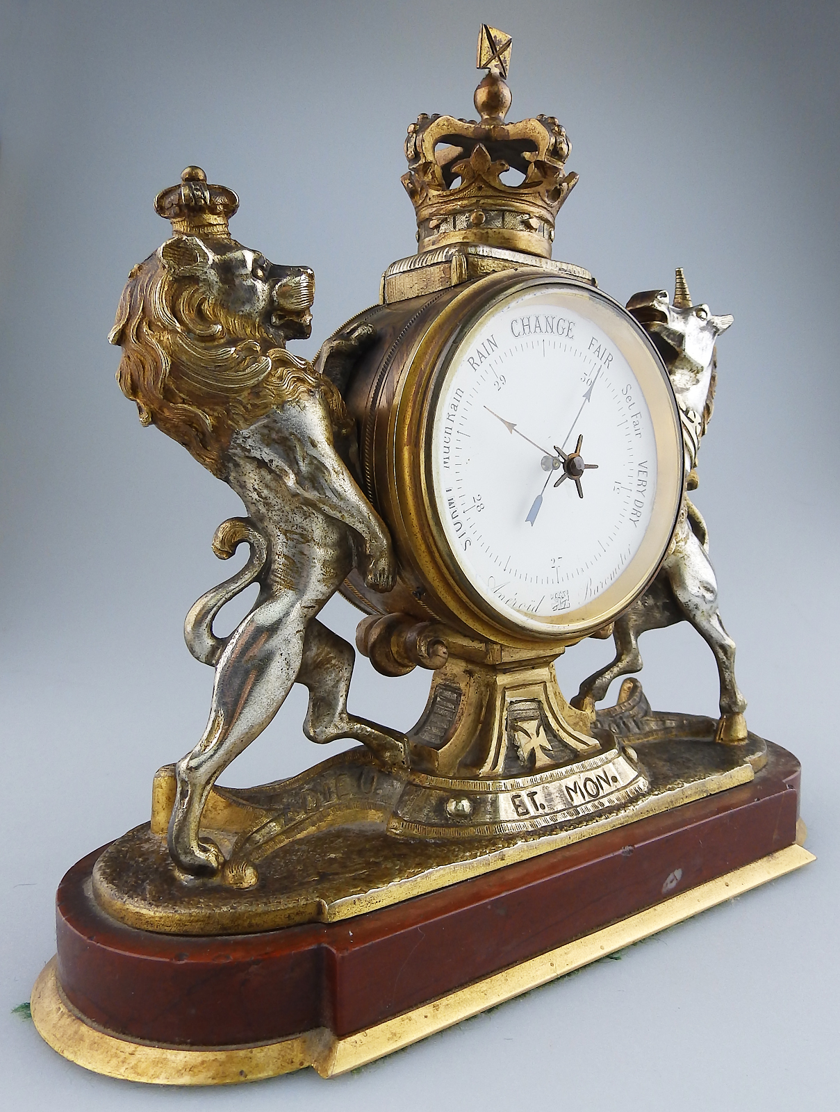 Antique Desk Accessories : A RARE novelty Royal Arms Aneroid Barometer  C.19th/20thC - Antique Desk Accessories : A RARE Novelty Royal Arms Aneroid