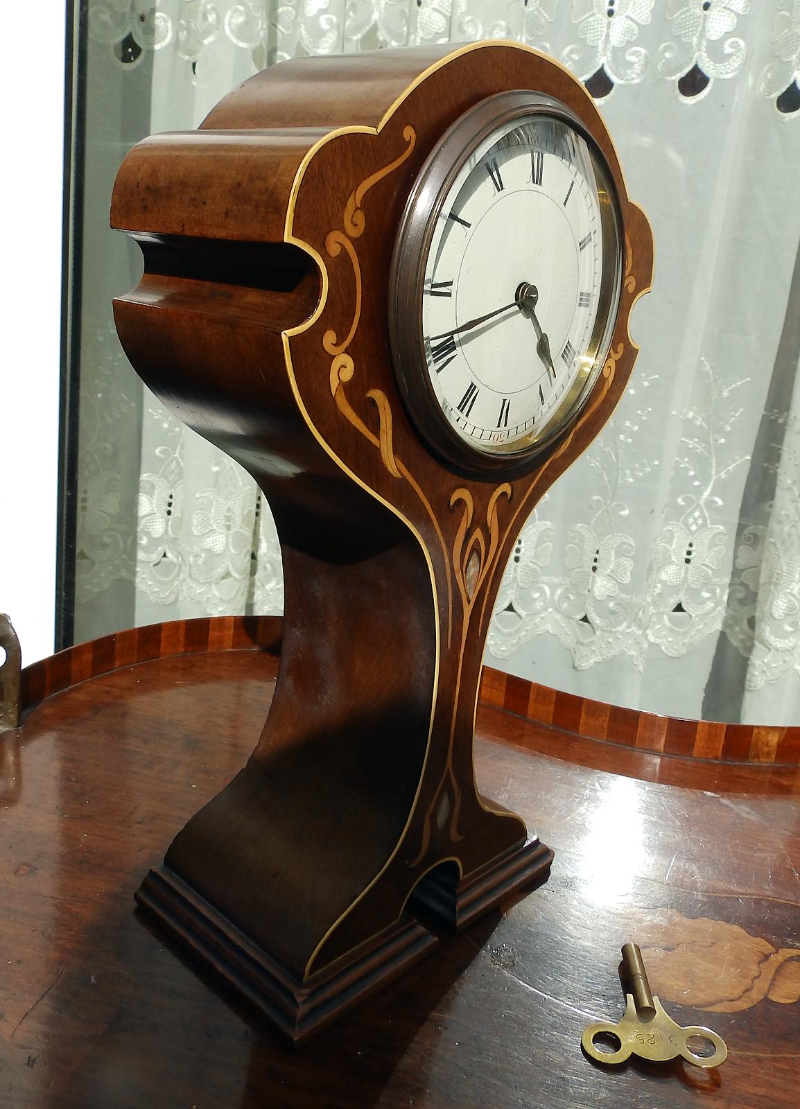 Antique Mantel Clocks >> Antique Clocks : A superior Art Nouveau inlaid / stringing ...