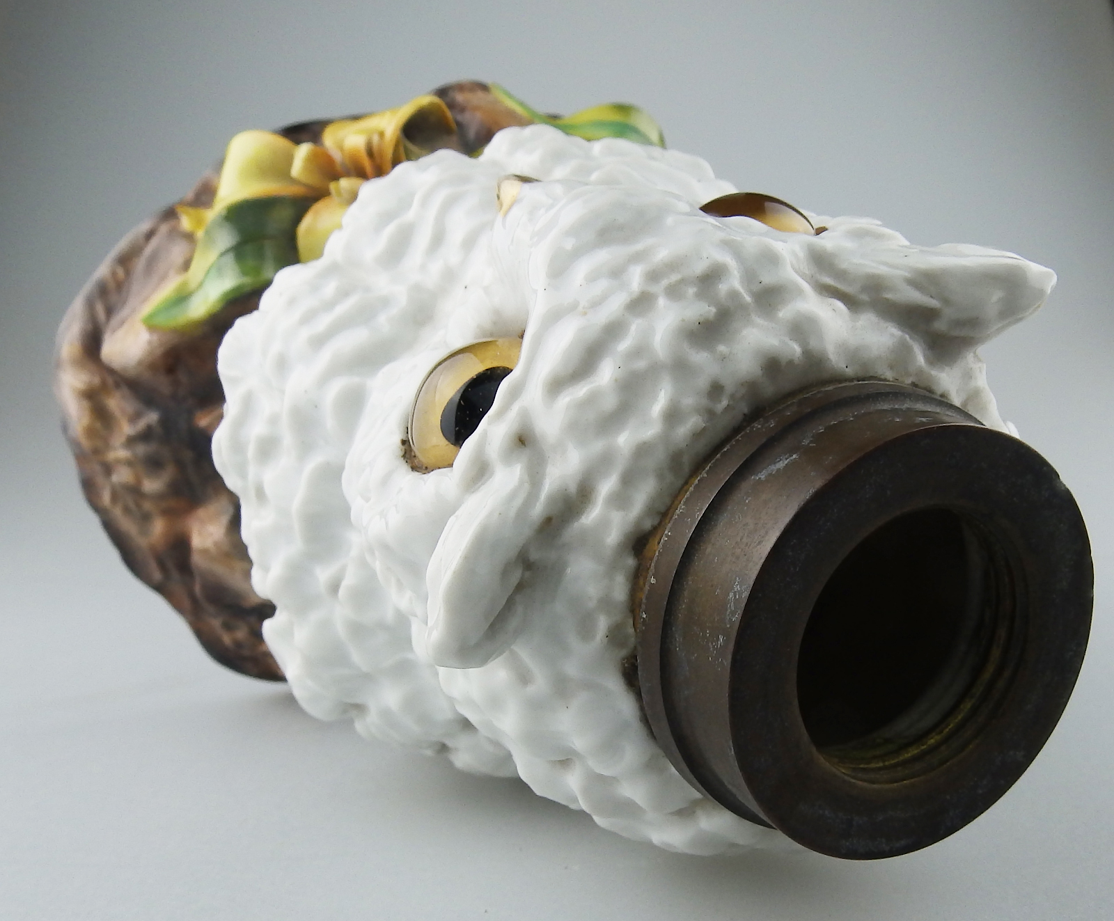 Novelty Lamp Base : Antique Porcelain : Superior Novelty owl Oil Lamp Base C.19thC For Sale Antiques.com Classifieds