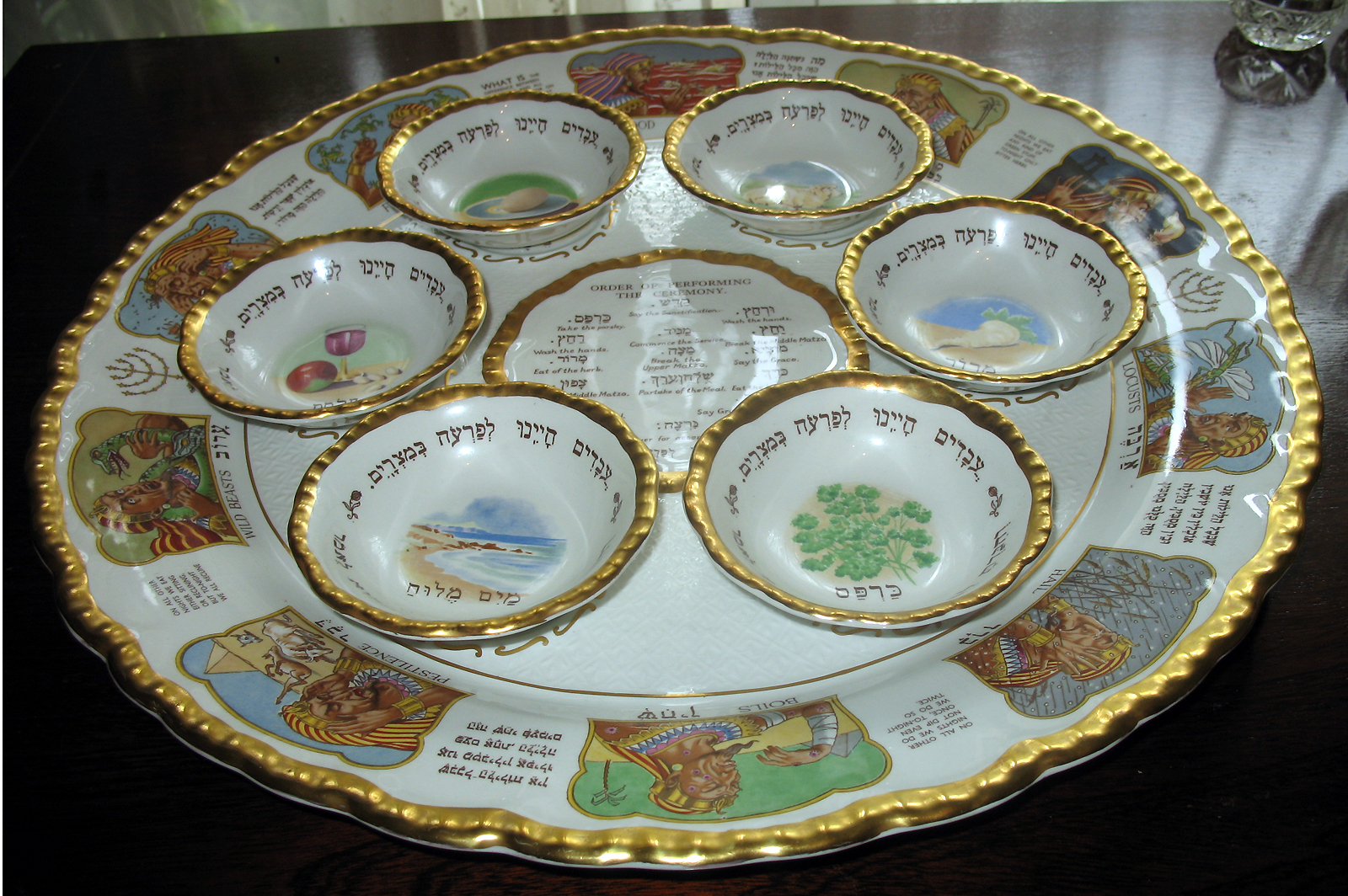 vintage a spectacular seder dish by royal cauldon judaica for