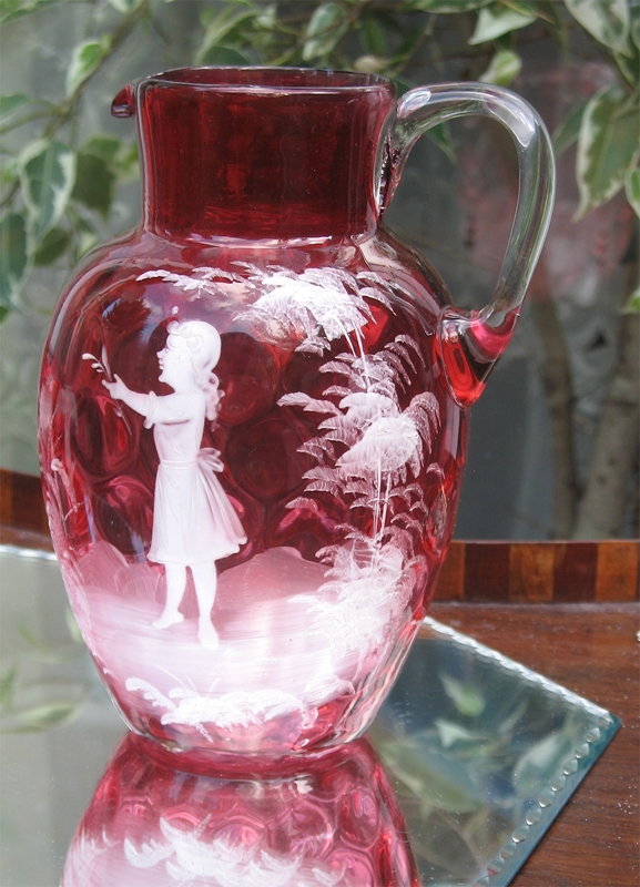 Antique A Lovely Victorian Cranberry Glass Mary Gregory Lemonade Set For Sale Antiques Com