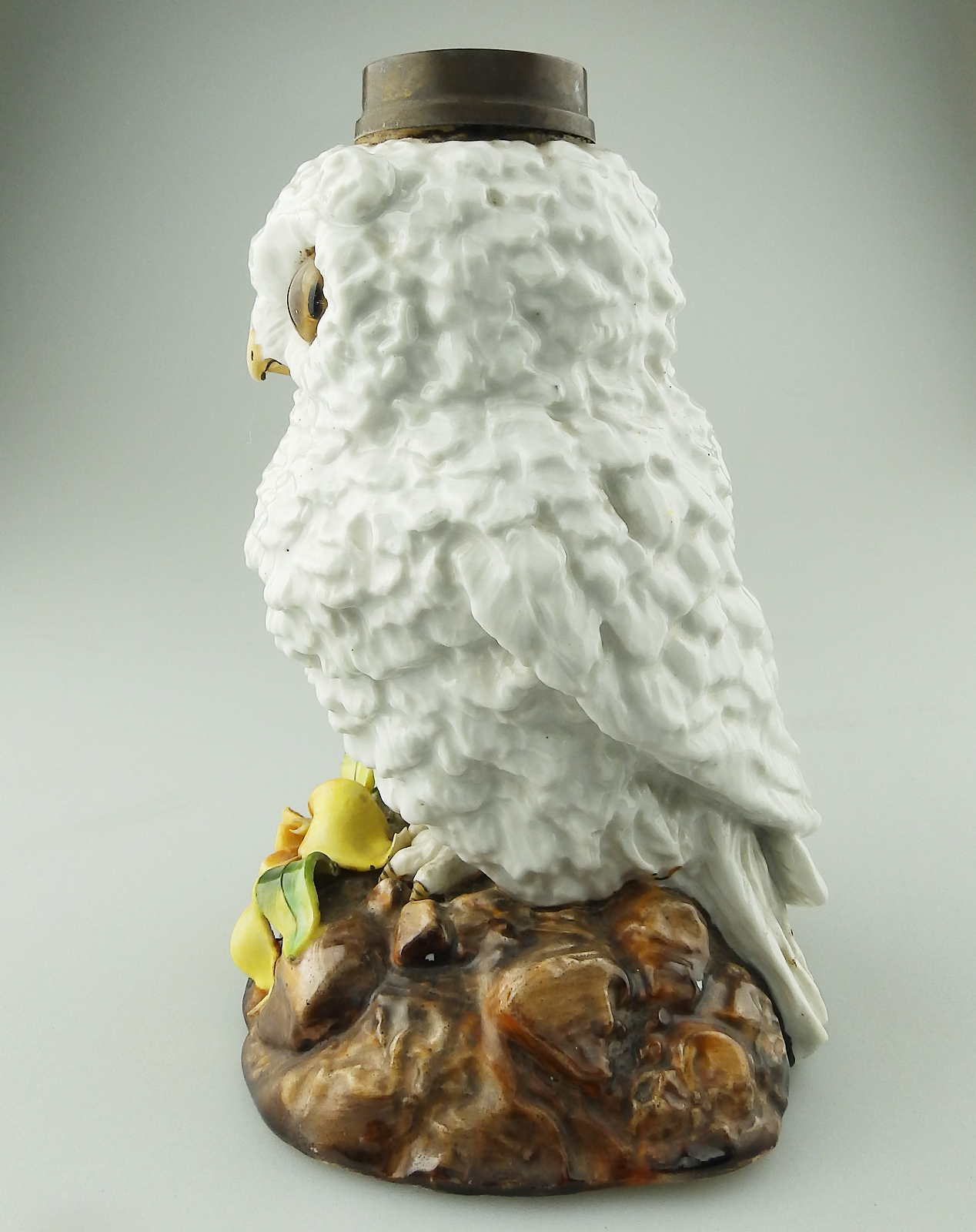 Novelty Lamp Bases : Antique Porcelain : Superior Novelty owl Oil Lamp Base C.19thC For Sale Antiques.com Classifieds