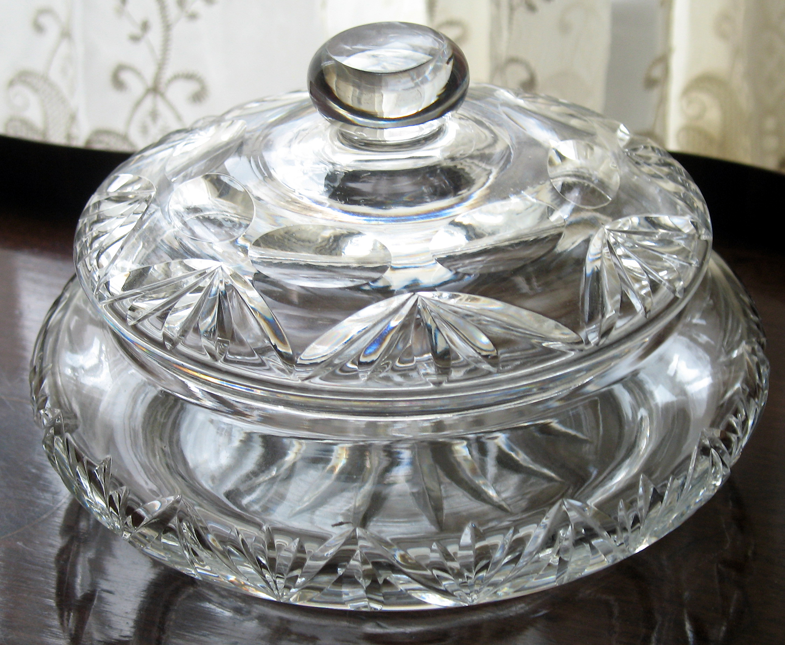 Art Deco Webb Corbett Cut Crystal Glass Candy Powder Bowl