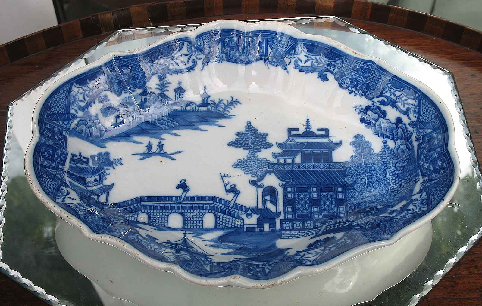 antique blue amp white transferware swansea pearlware dish