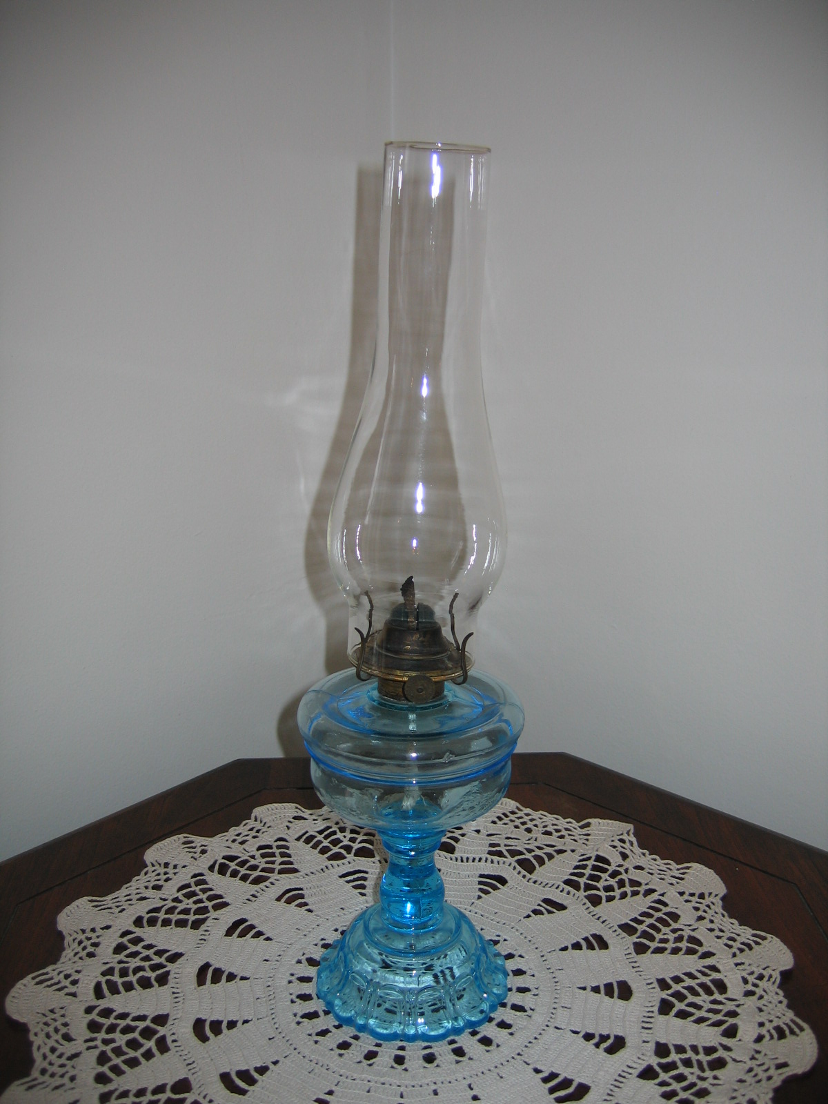 antique vintage kerosene light blue translusent colored glass oil lamp. Black Bedroom Furniture Sets. Home Design Ideas