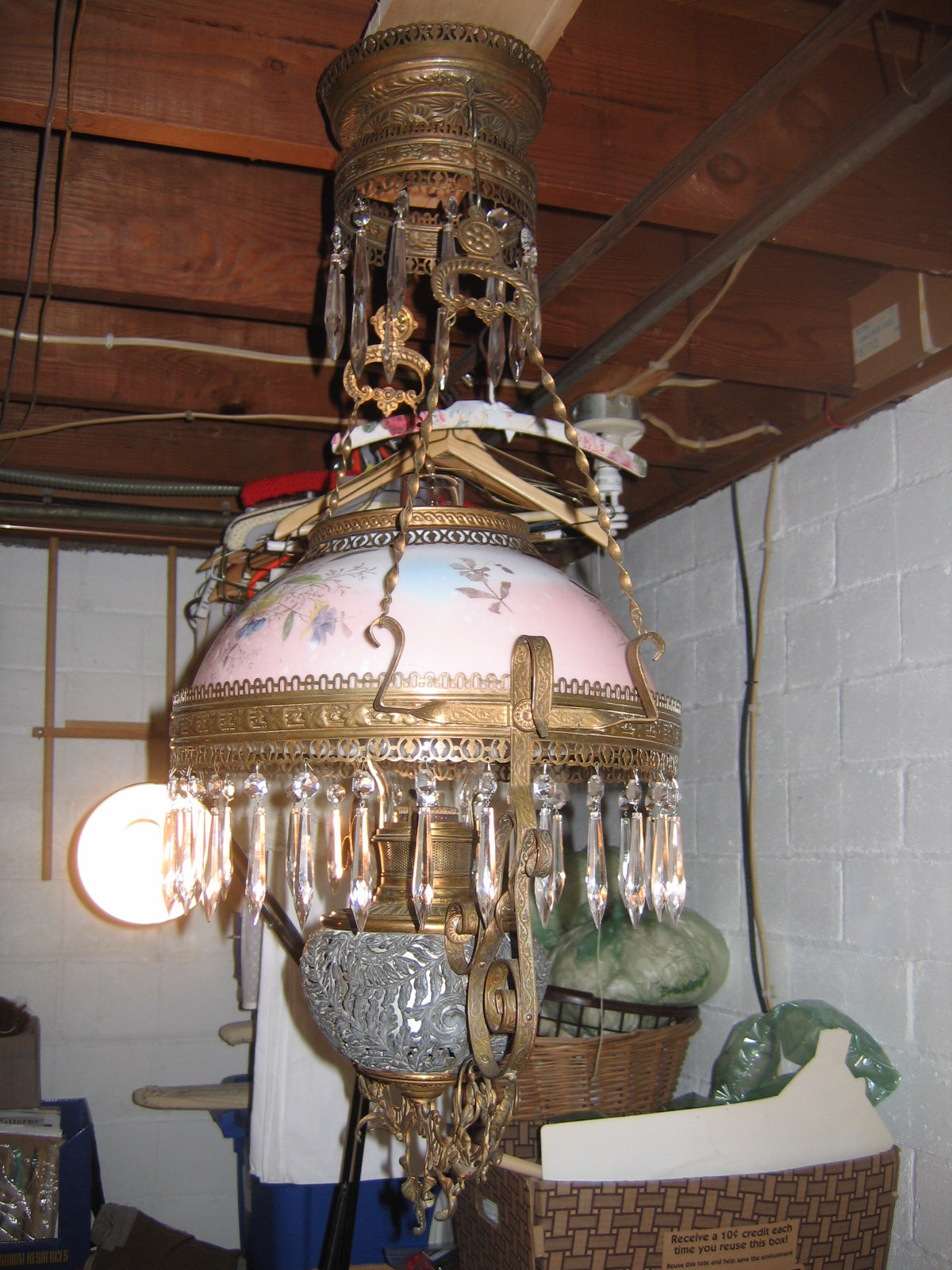 Swag Lamps for Sale http://www.antiques.com/classified/1122576/Antique-Antique-B---H-Library-Hanging-Kerosene-Oil-Lamp-Lighting-w--Functional-Pulley-Chain---Lead-Crystals-ITEM--6000