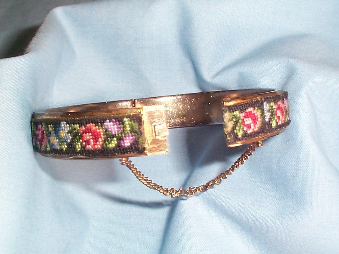 Vintage Costume Jewelry Rose Fl Petit Point Bangle Clasp Bracelet Item 284 For