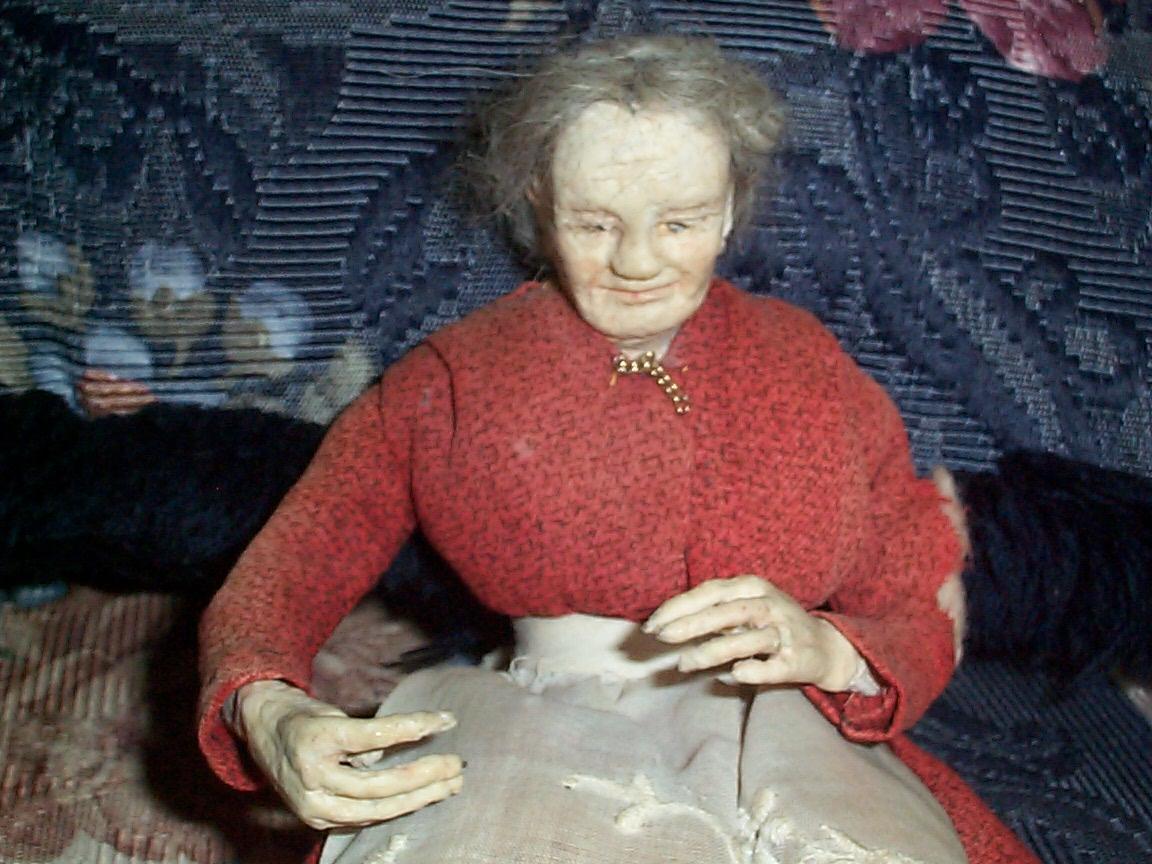 Antique Grandma Wax Shelf Sitting Doll Item #472 For Sale ...