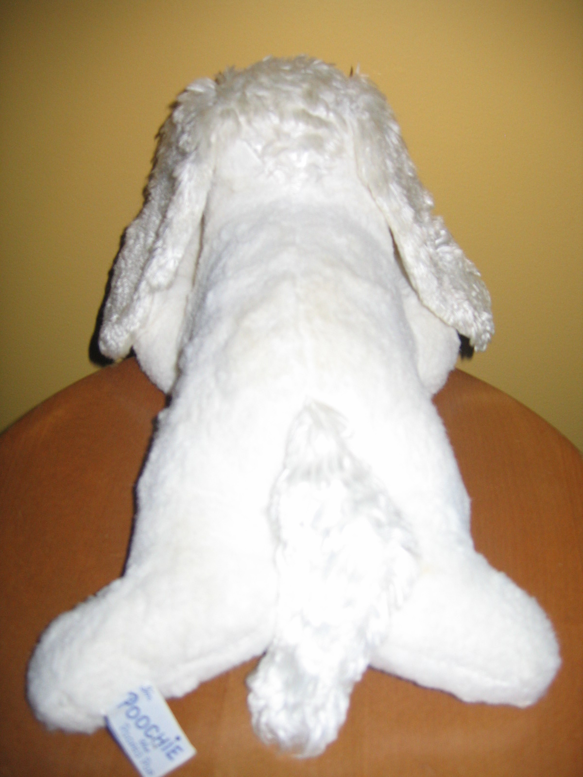 Vintage White Dog Plush Stuffed Animal Toy Poochie The Pooped Pup