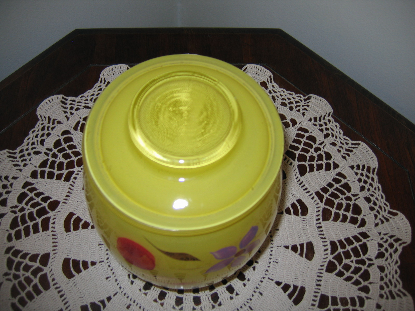 Vintage Hand Painted Fruit Flower Design Yellow Glass