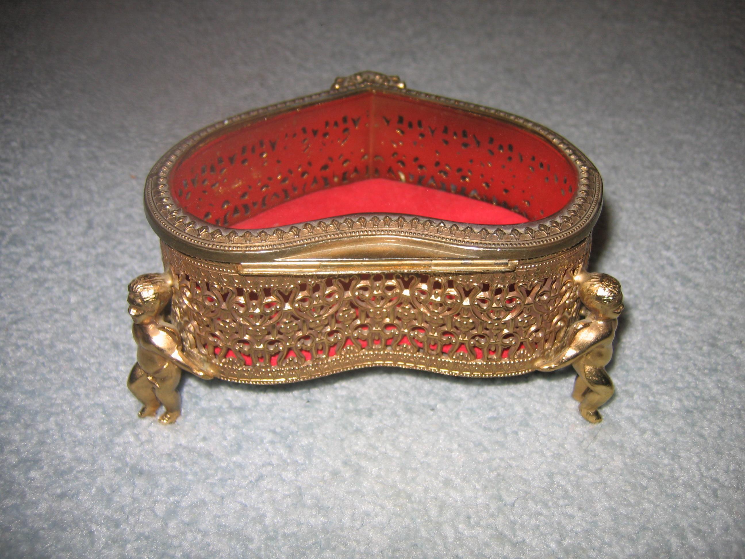 vintage brass heart shaped angel cherub jewelry keepsake box items