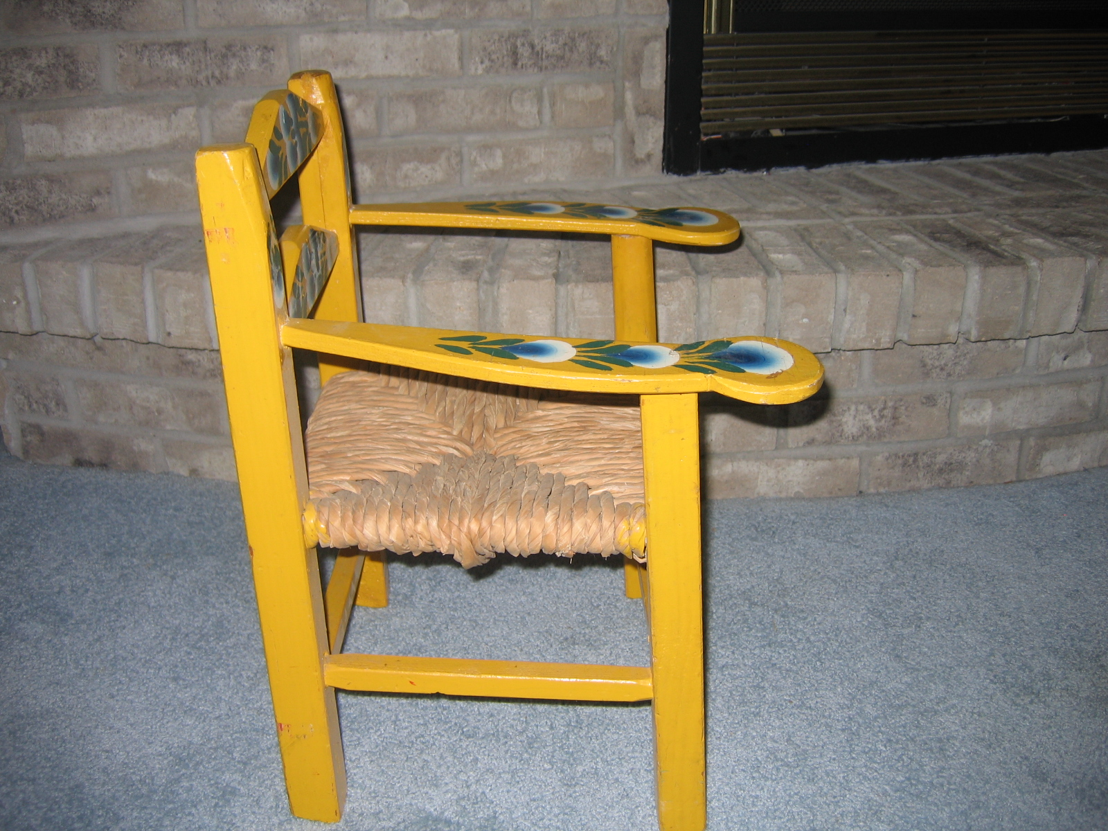 Vintage Kids Wood Wooden Rush Seat Chair Hand Painted