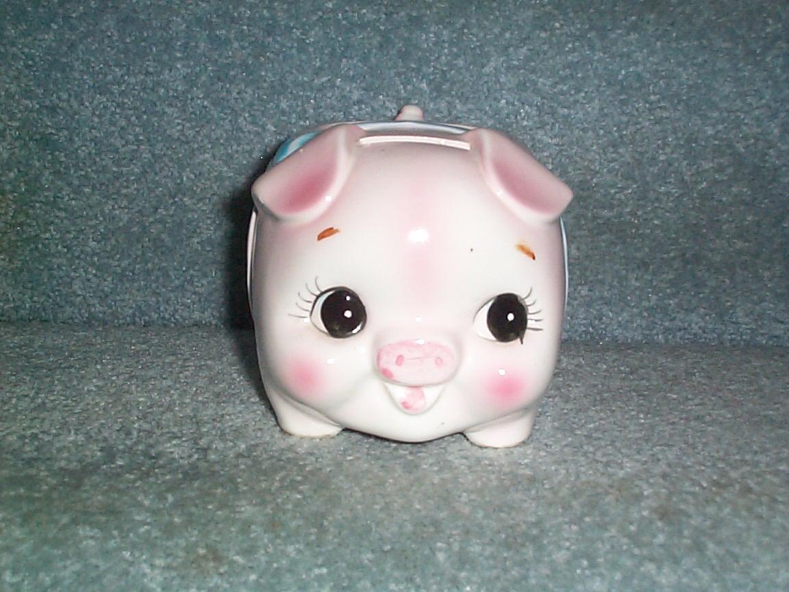 Vintage Ceramic Pottery Pig Planter Piggy Bank All In