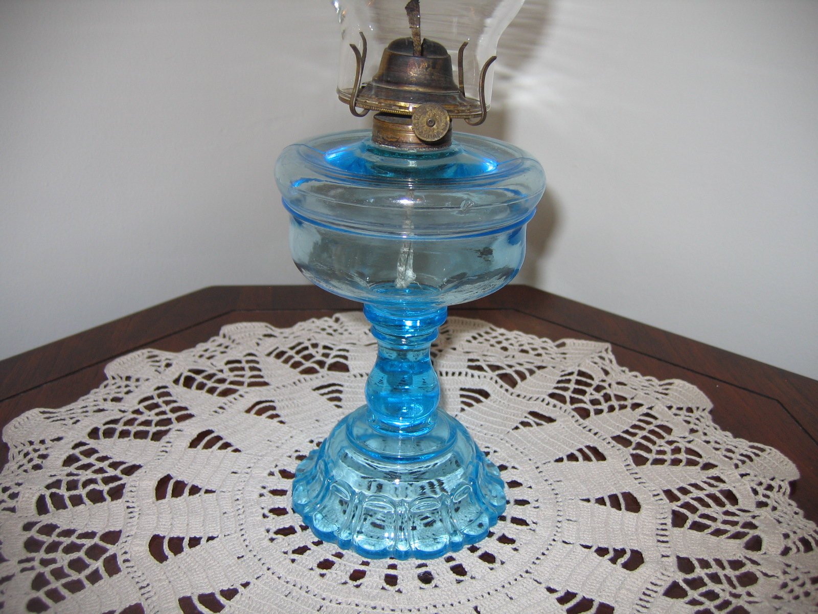Antique Vintage Kerosene Light Blue Translusent Colored