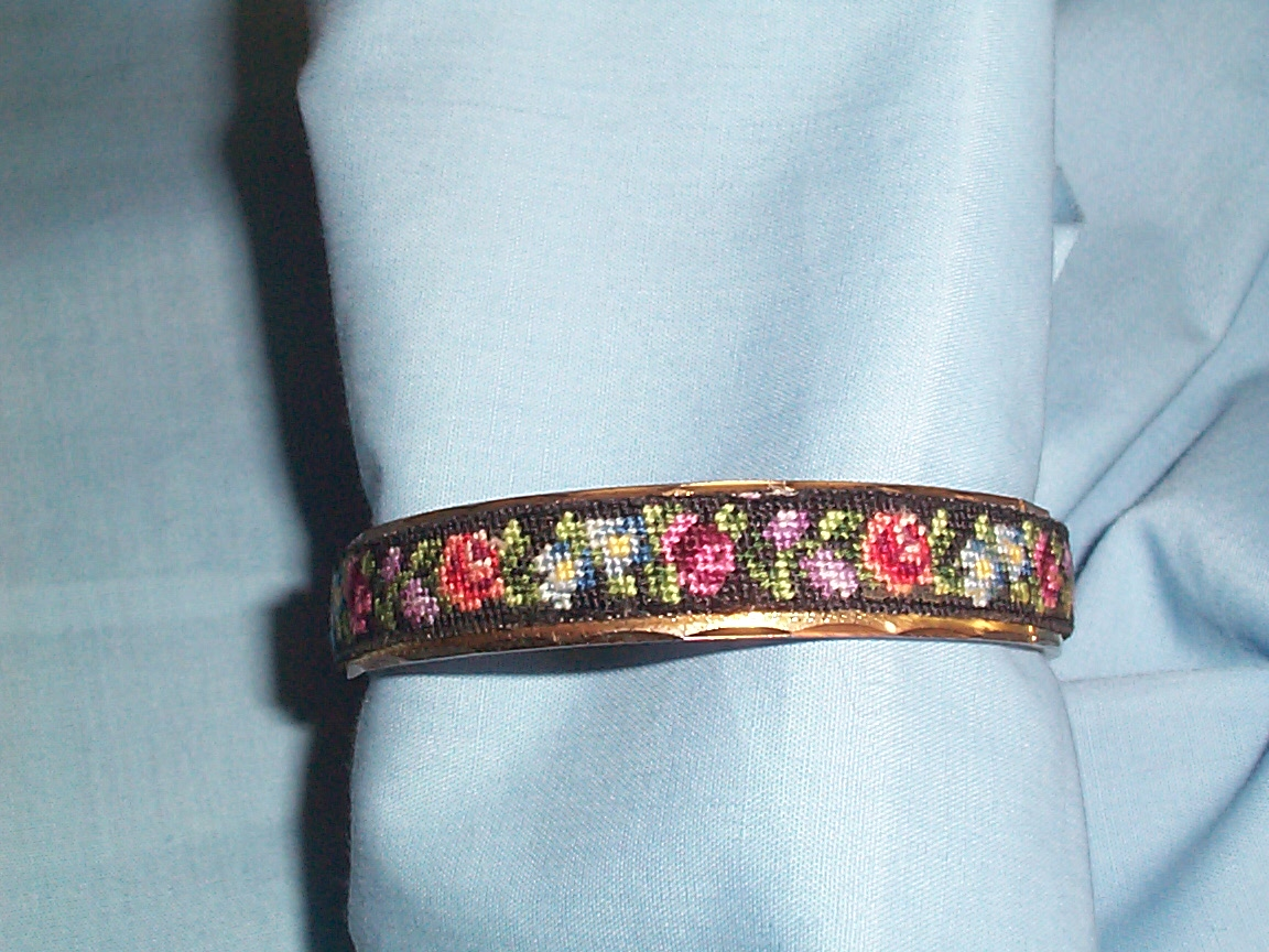 Vintage Costume Jewelry Rose Fl Petit Point Brass Toned Bangle Bracelet Is In Great Condition Clasp Opens And Closes Well No Indication Of Maker