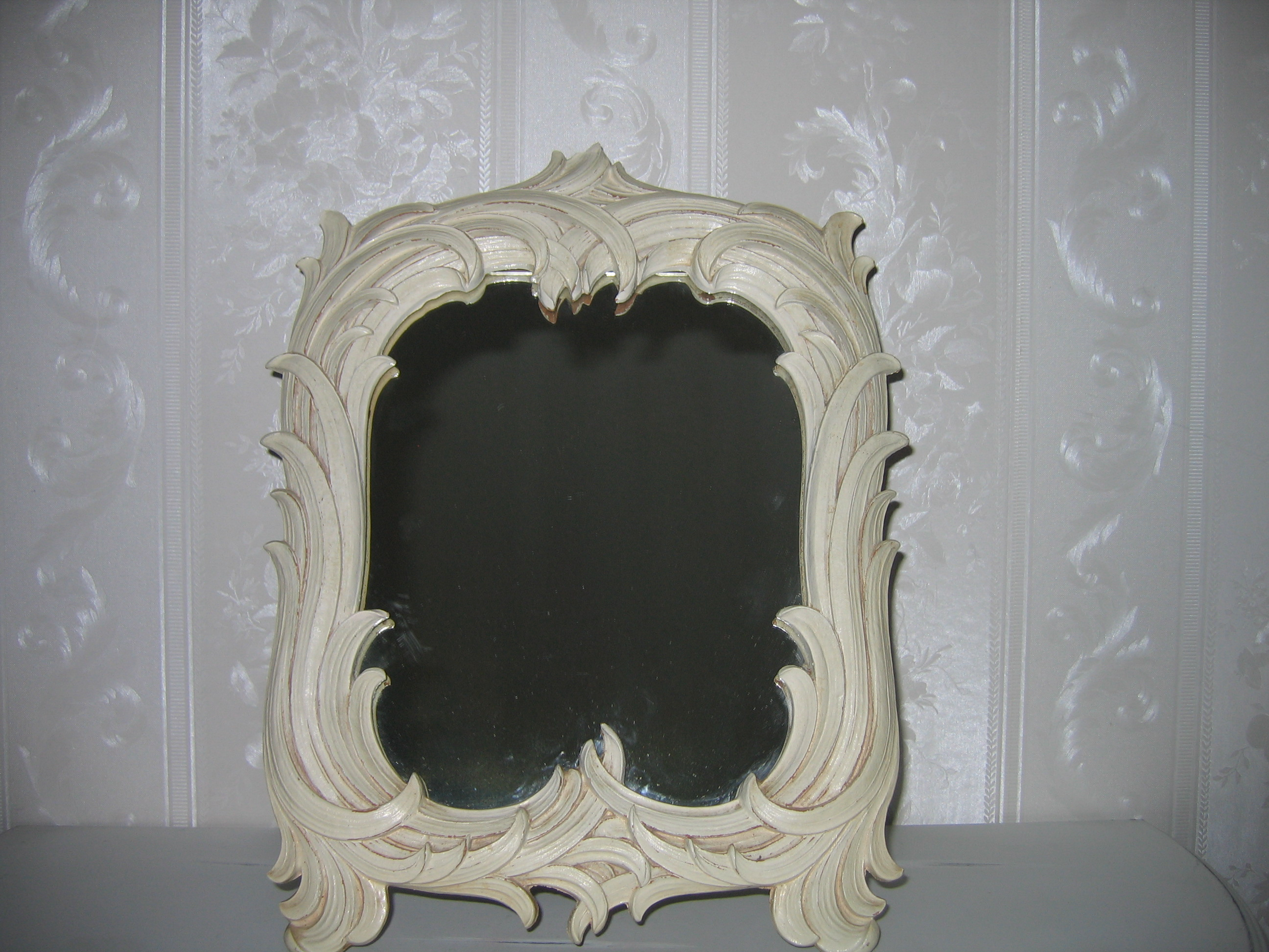 Old vintage syroco wood wooden vanity dresser mirror for for Mirrors for sale