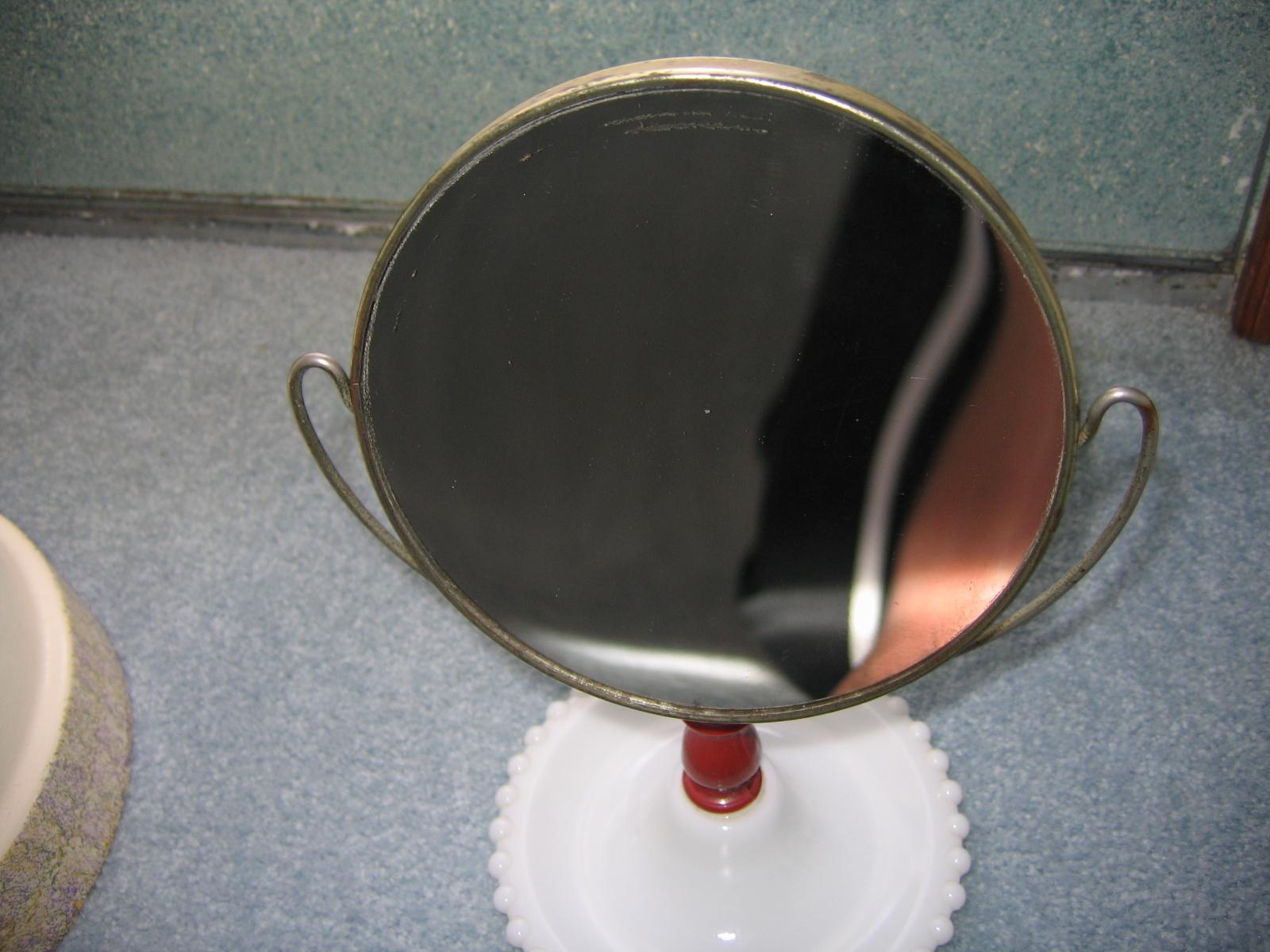Vintage Ladies Milk Glass Base Two Sided Vanity Mirror