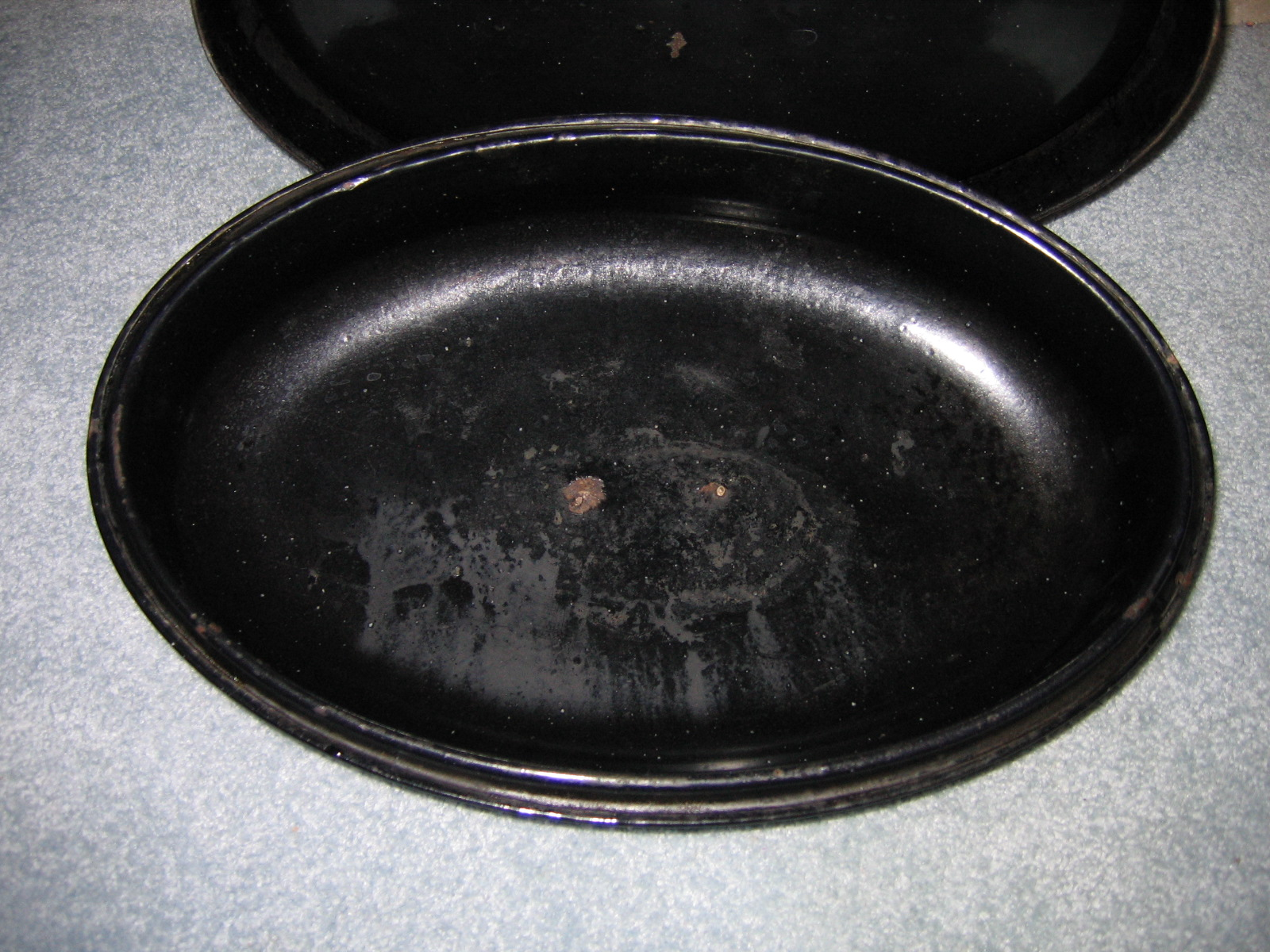 Old Black Amp White Speckled Graniteware Enamelware Oven