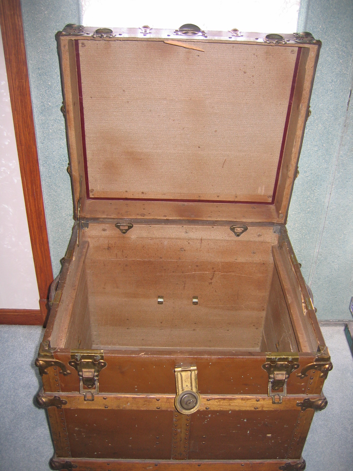 Antique wooden chest travel storage trunk item for