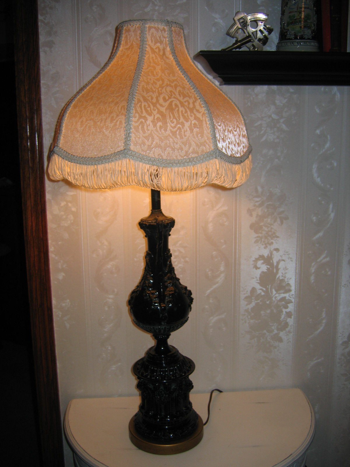 Vintage victorian two handle glass entry side table lamp lighting vintage victorian two handle glass entry side table lamp lighting item 760 for sale antiques classifieds aloadofball Image collections