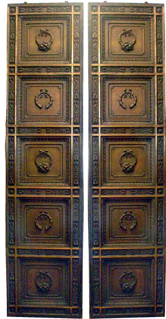 Antique Cast Bronze Front Entry Doors with Wreath & Cornucopia ...