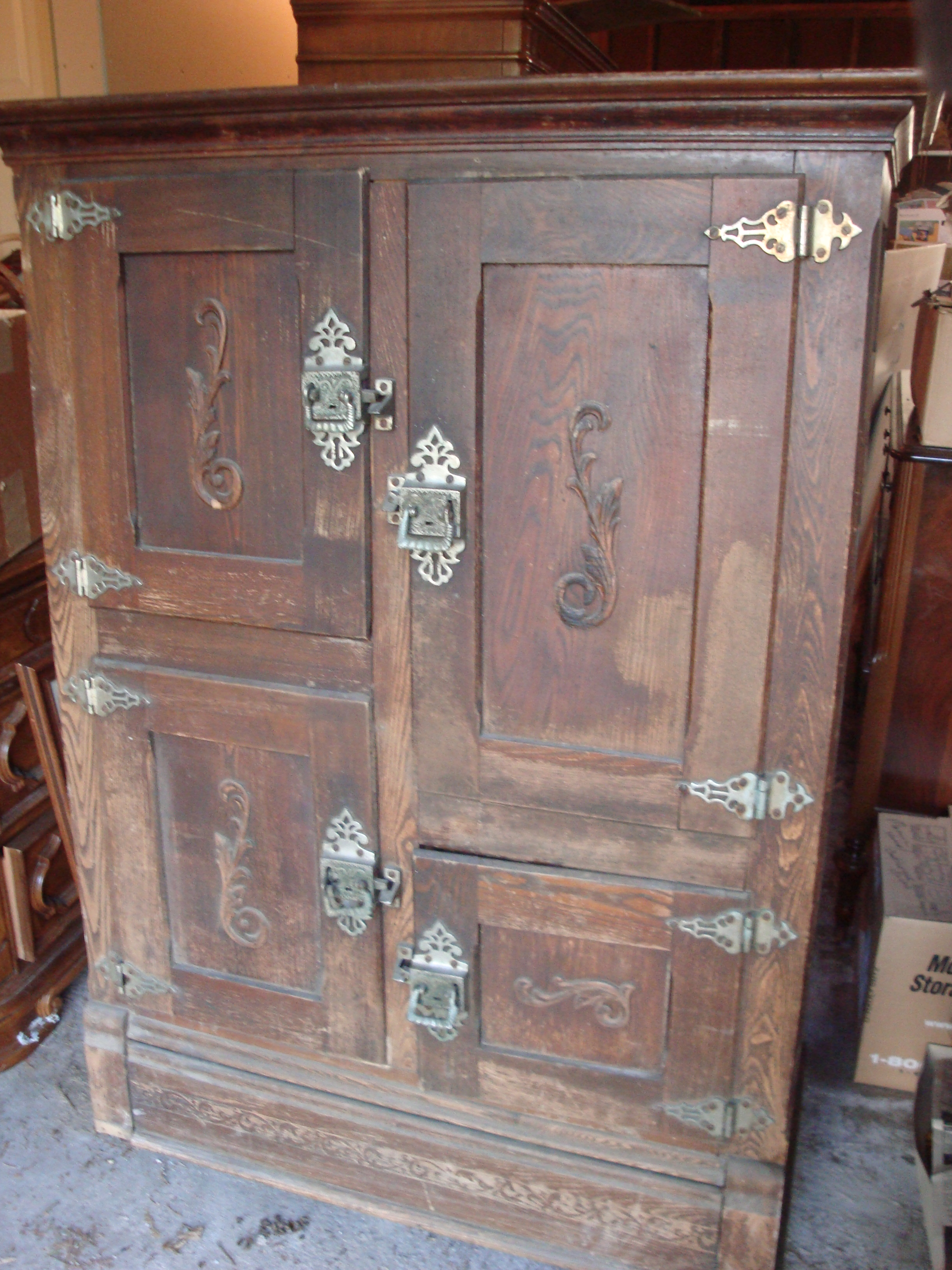 Rare Antique Large Wooden Decorative Ice Box For Sale