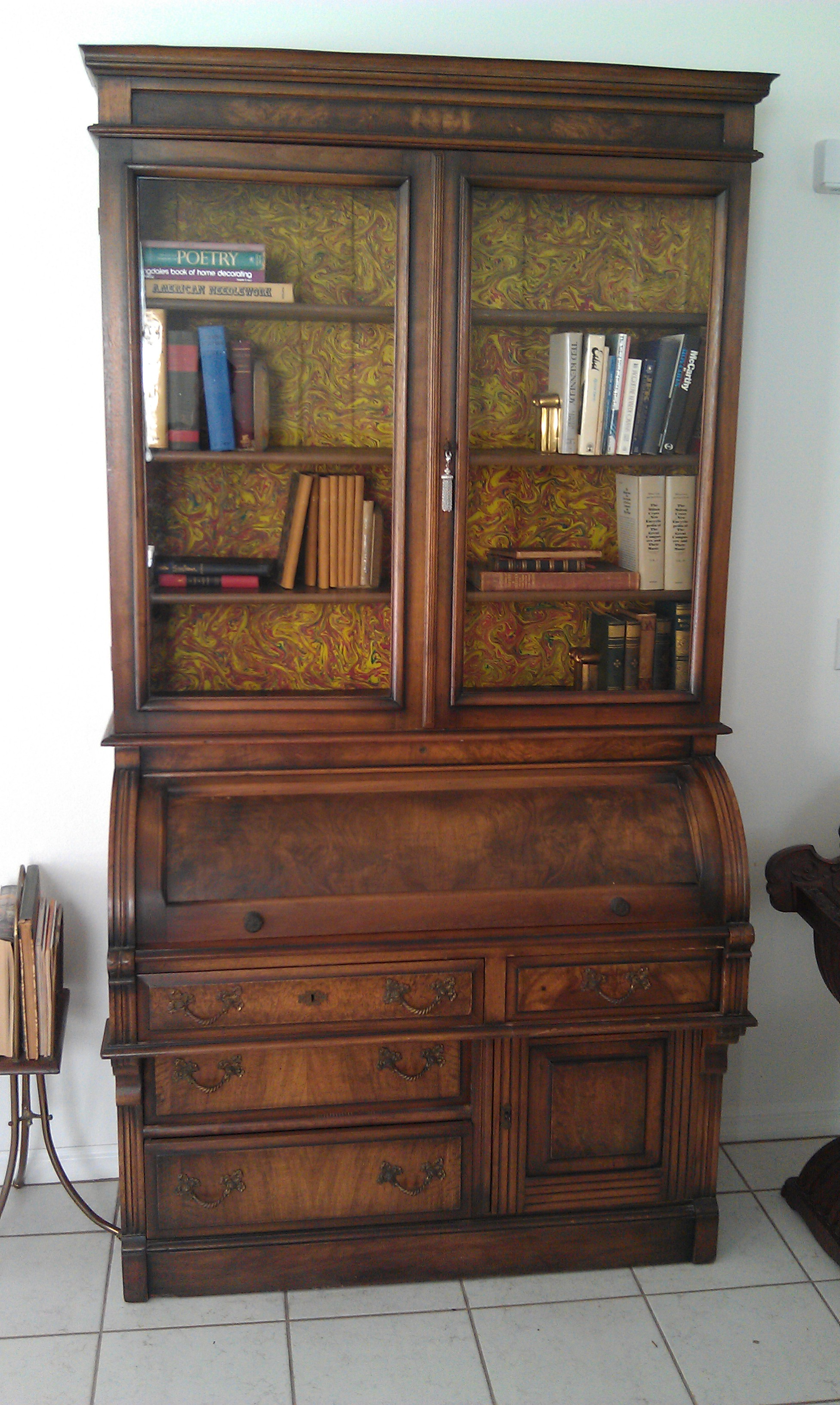 Antique secretary desk bookcase very fine 1870-1900 roll top desk For Sale | Antiques.com ...