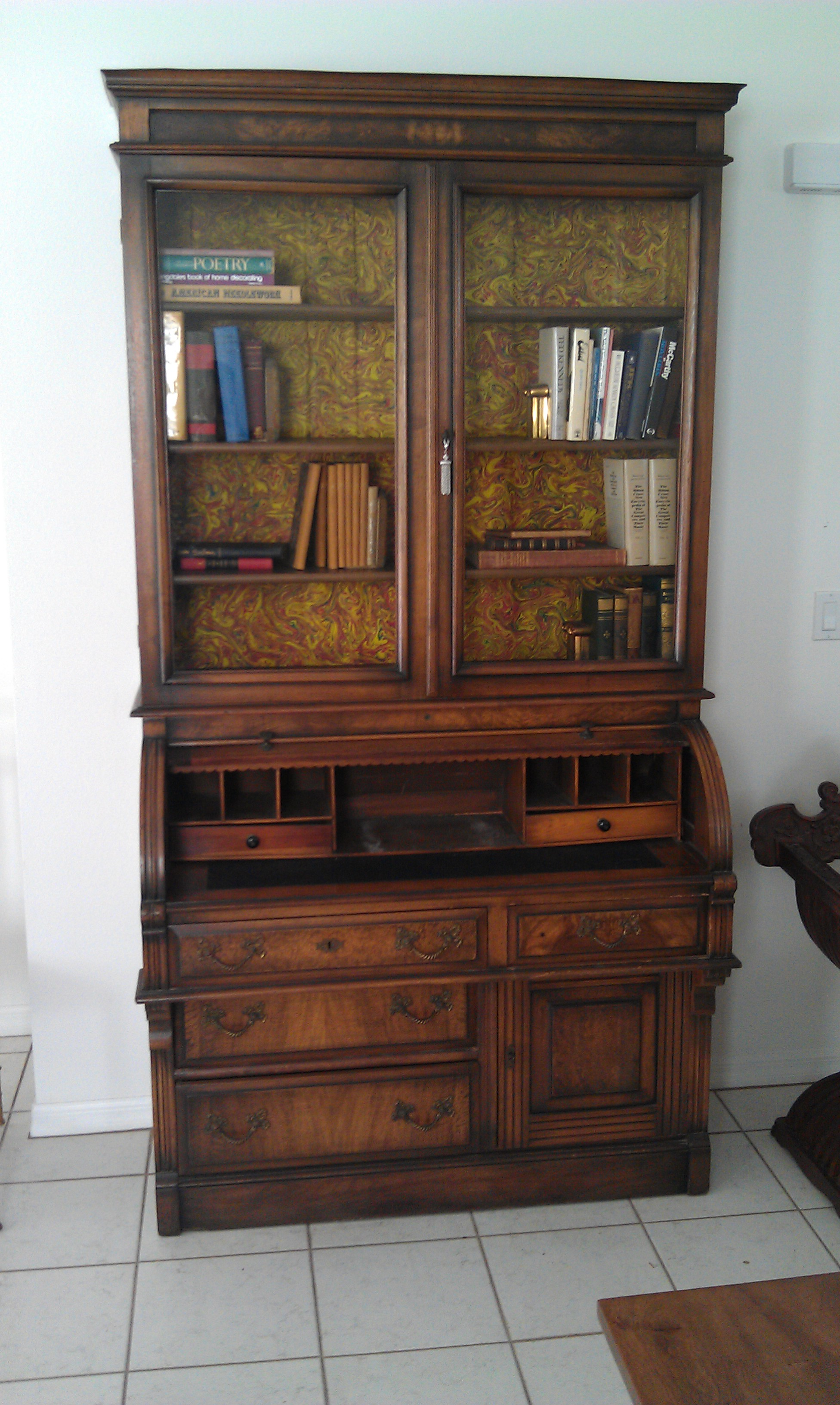 Antique Secretary Desk Bookcase Very Fine 1870 1900 Roll Top For