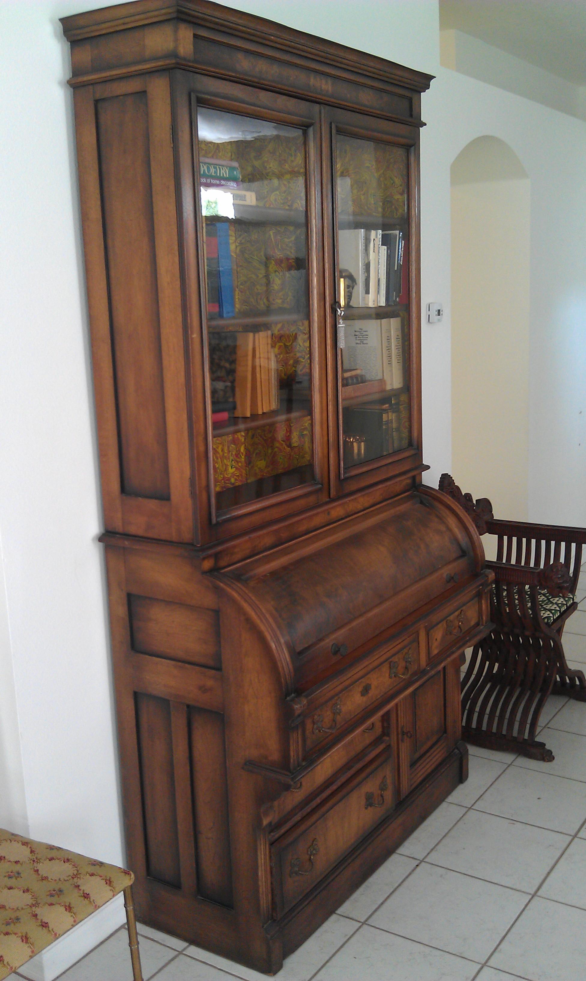 Antique Secretary Desk Bookcase Very Fine 1870 1900 Roll