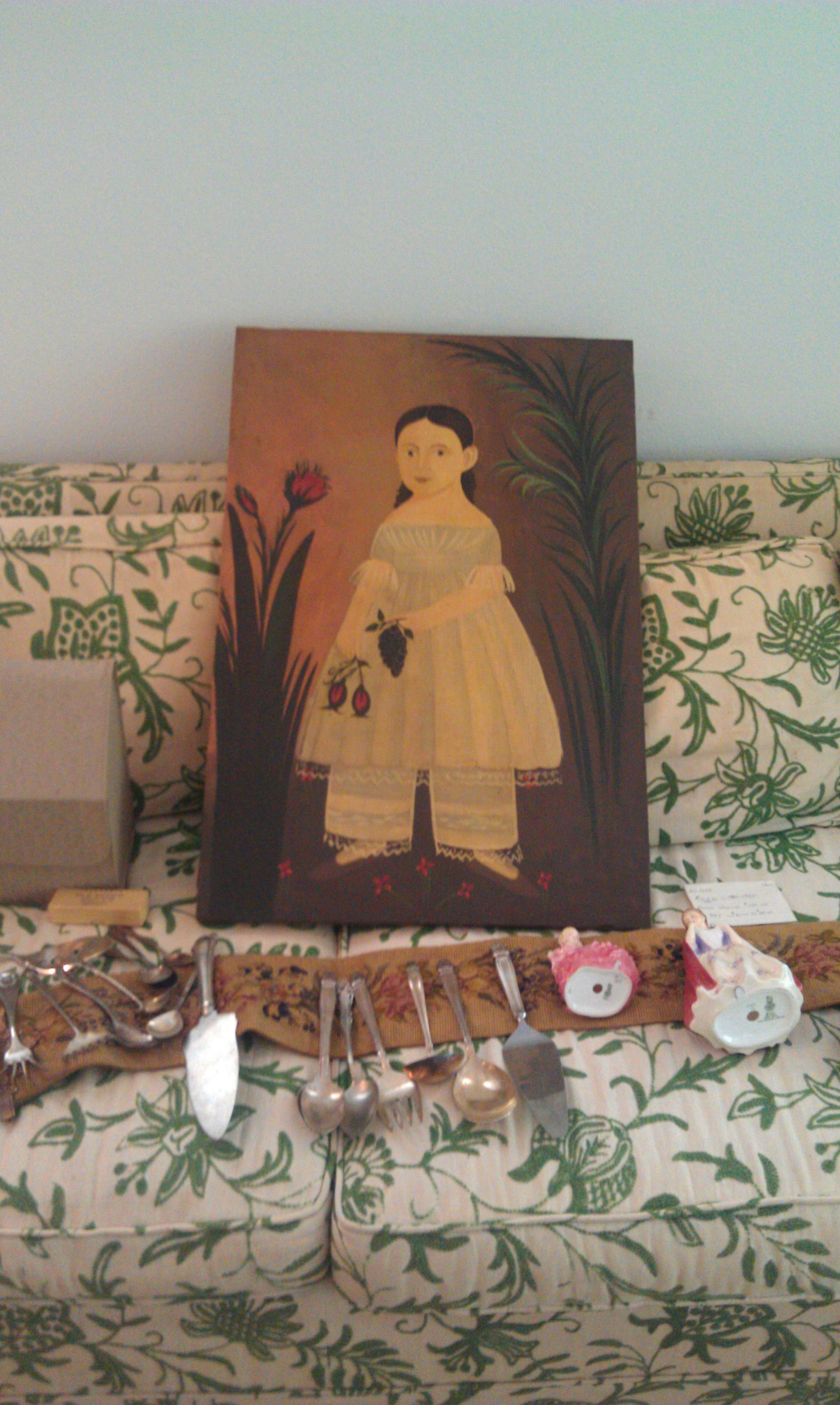 Antique Primitive Style Oil Painting For Sale Antiques
