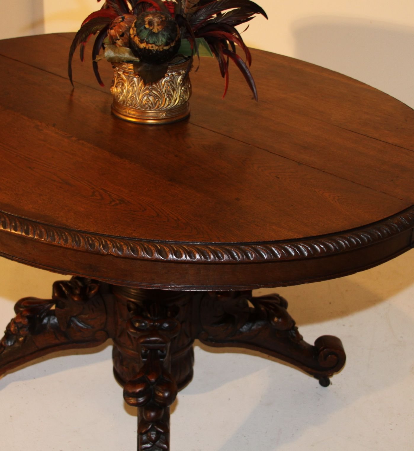 Animal Carved Oval Dining Hunt Table Henry Ii Antique