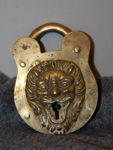 Malls In Ct >> 1896 brass lion lock rare For Sale | Antiques.com | Classifieds