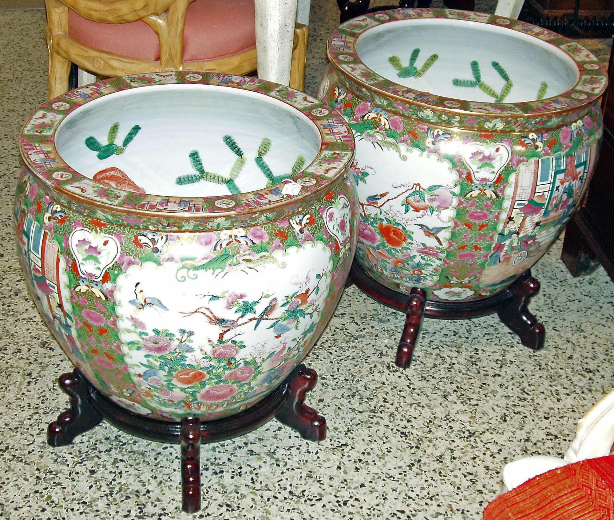 Large rose medalion fish bowl planters for sale antiques for Fish bowl price