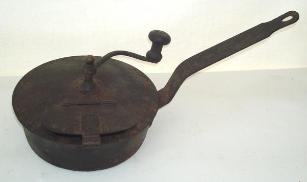 Rare 18th Century German Cast Iron Coffee Roaster For Sale