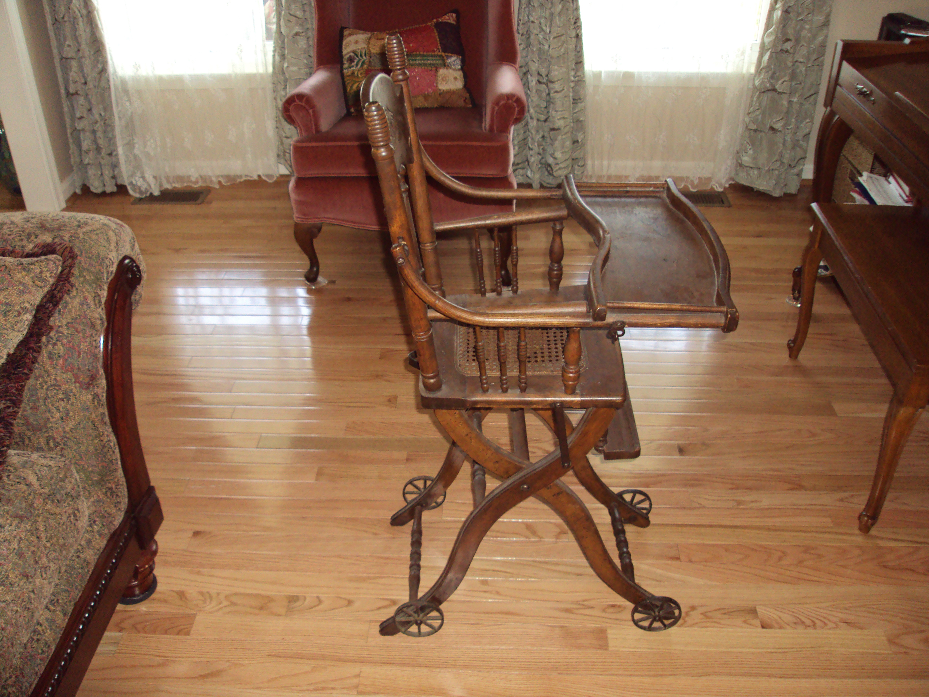 Victorian Era Convertible Stroller High Chair For Sale