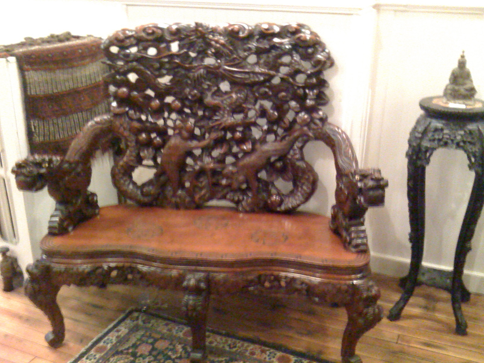 Japanese meiji period export carved cherry wood bench for