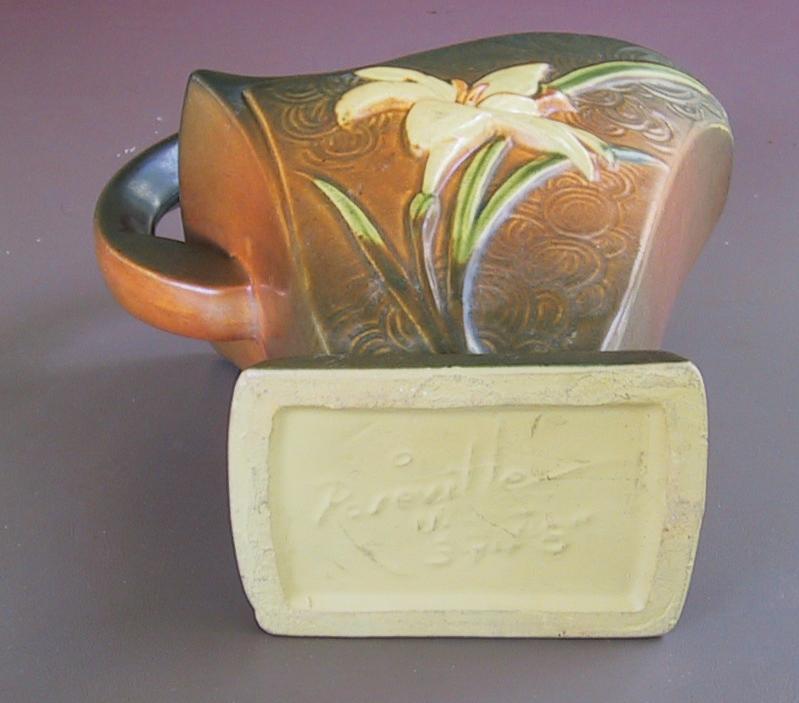 Roseville Zephyr Lily Handled Basket Vase 394 8 In Siena C1946 For