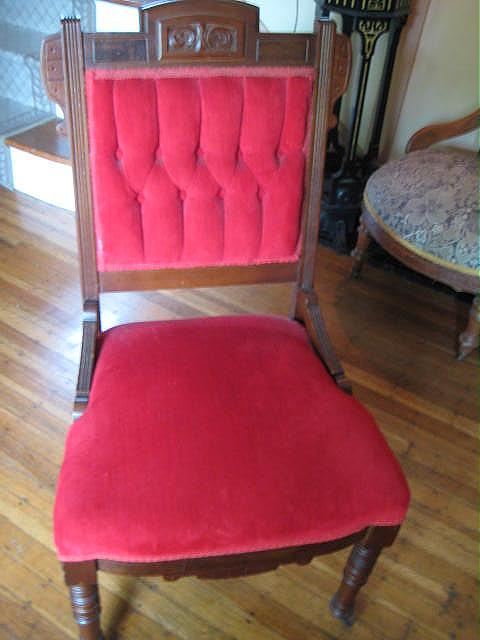 victorian red button tufted back parlour chair for sale