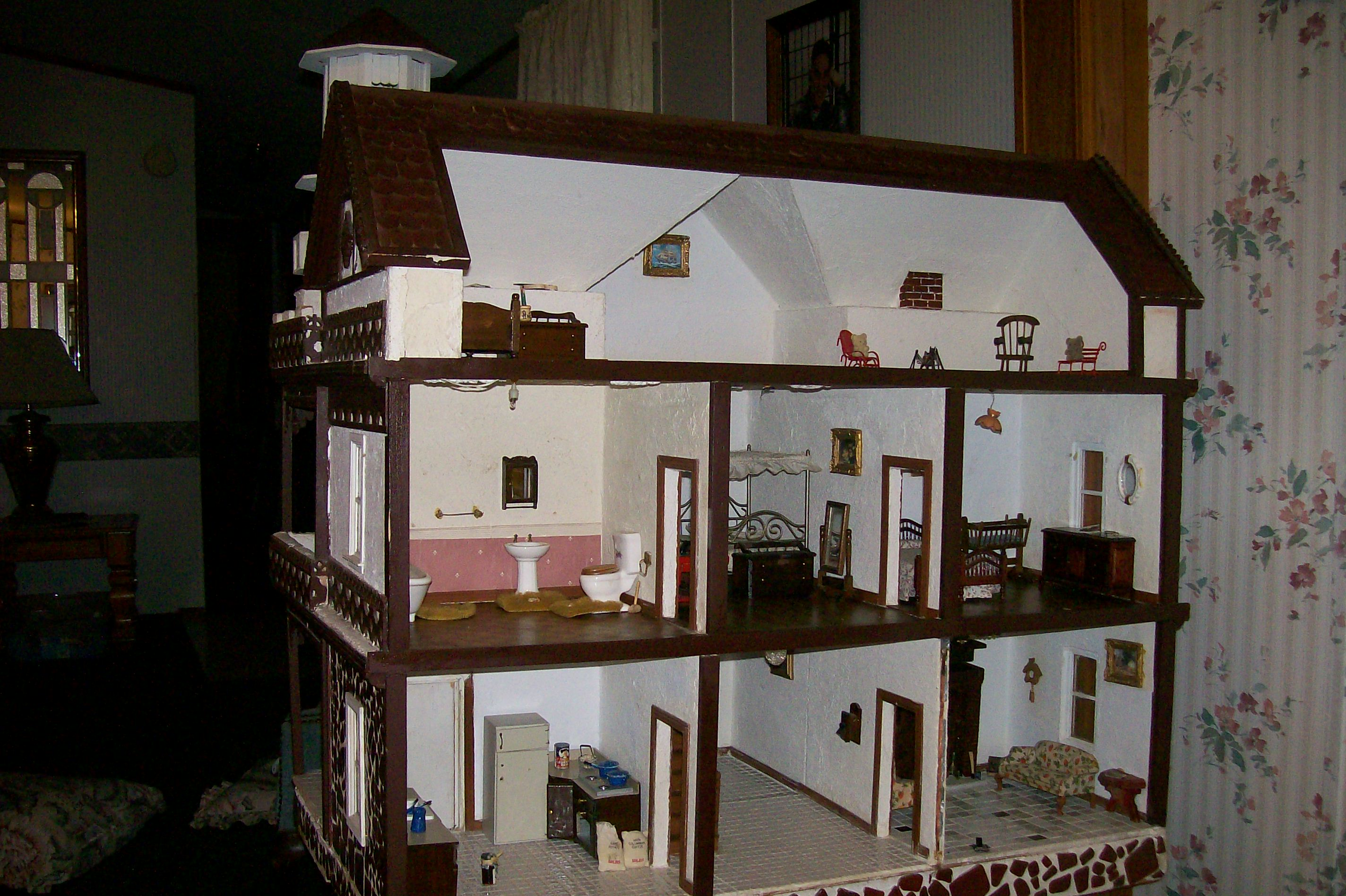 Beautiful Vintage Dollhouse Furniture For Sale Part - 9: Antique Dollhouse Late 1800u0027s - For Sale