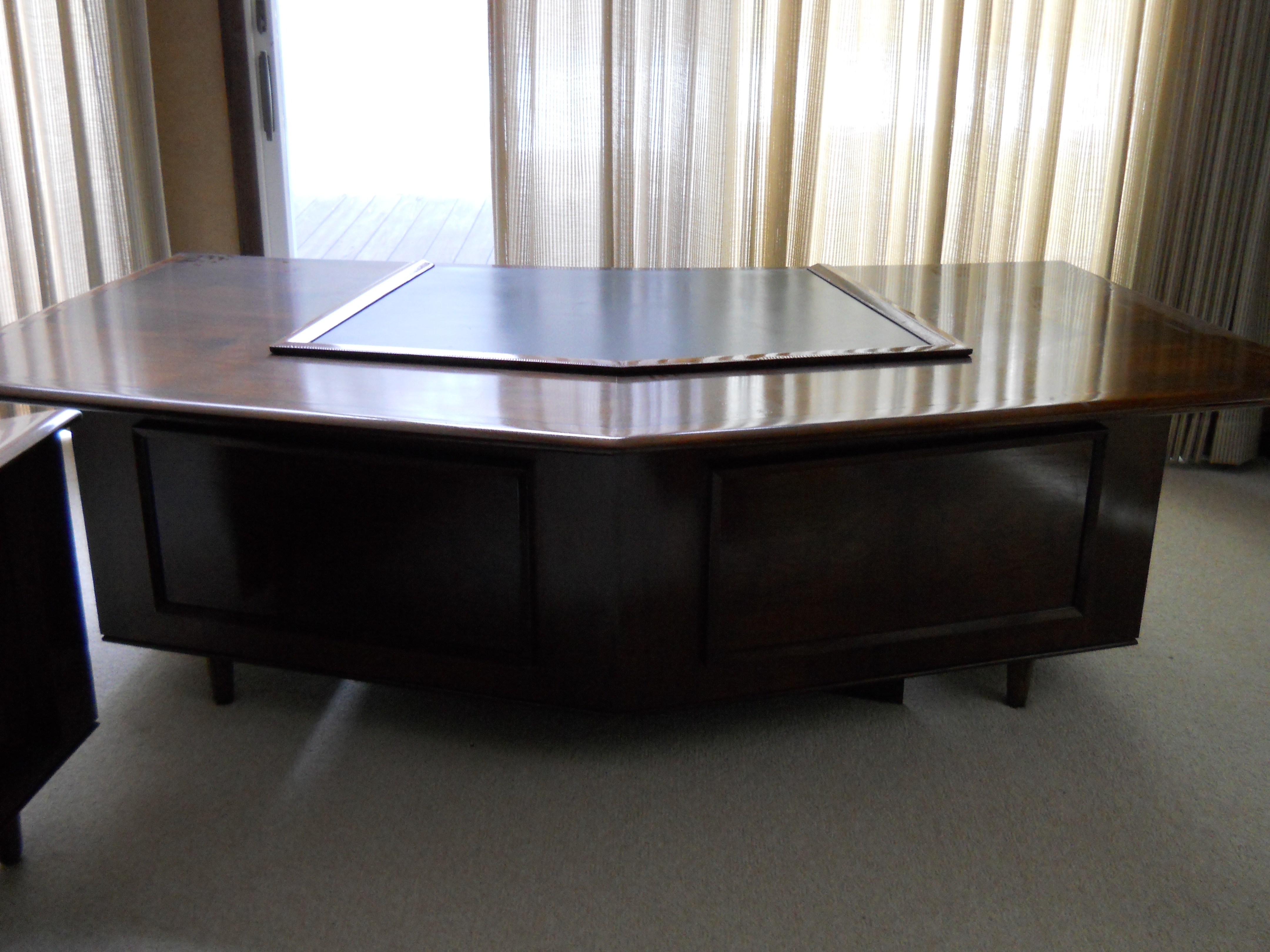 large pin retro modern danish vintage desk executive rosewood