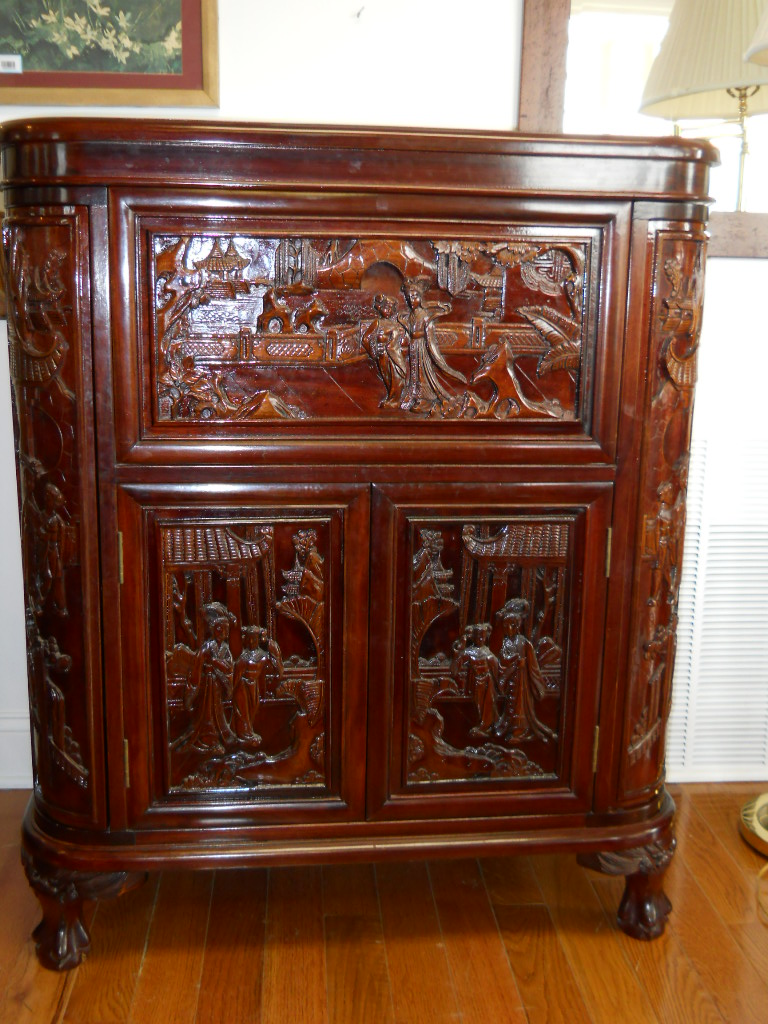 Asian carved solid rosewood bar for sale for Oriental furniture nj