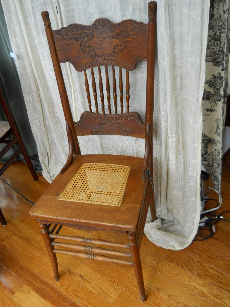 Solid Wood Hand Carved Cane Seat Chair For Sale Antiques