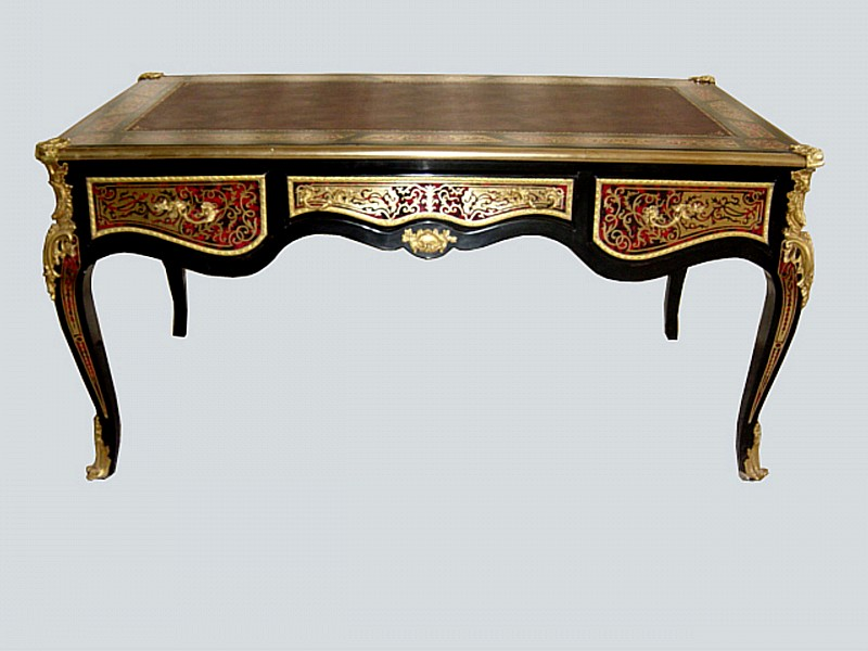Really Magnificent Large And Grandiose Desk In The Louis Xv Boulle Style Graciously Ornate With Bronze Decorations Leather Top Made High Quality