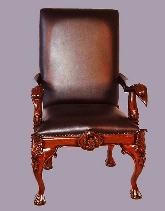 Fabulous chippendale real leather carved bergere for sale