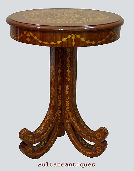 Unusual forms italian venetian marquetry side table for for Unusual tables for sale
