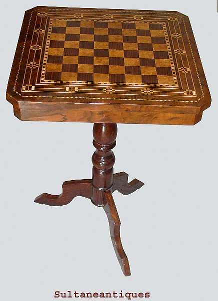 Unique French Superbly Inlaid Chess Board Table For Sale