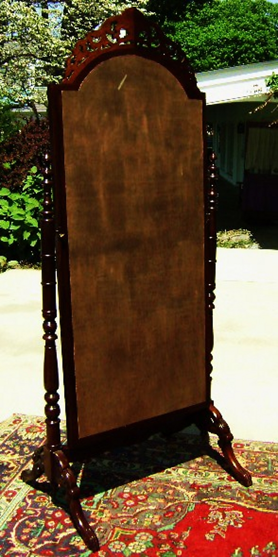 Quality Large Victorian Mahogany Standing Mirror For Sale