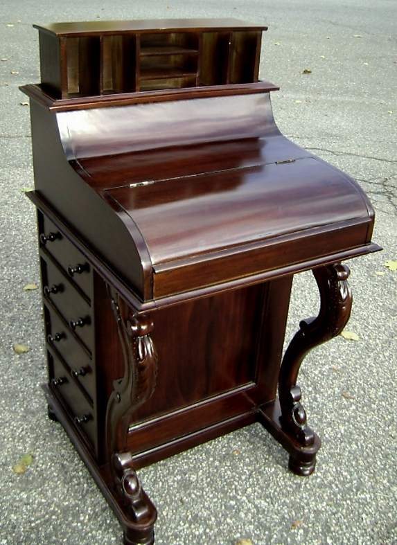 Carved Mahogany Pop-up Davenport Writing Desk - For Sale - Carved Mahogany Pop-up Davenport Writing Desk For Sale Antiques